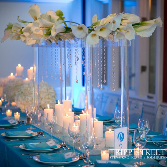 Acrylic Tabletop with Calla Lily & Crystals