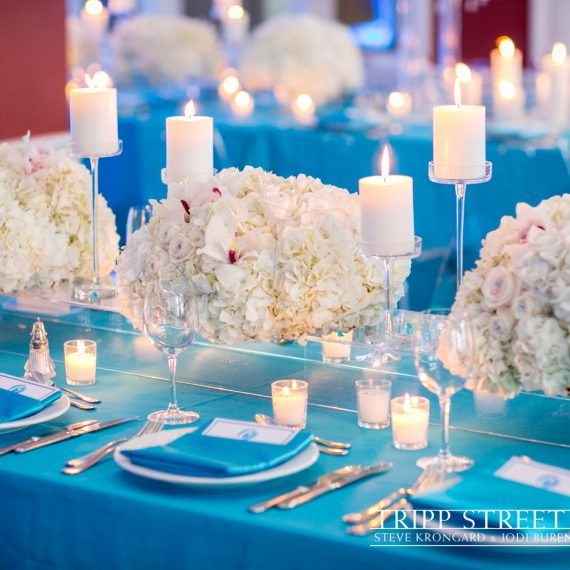 Low Floral Acrylic Tablescape with Candlelight